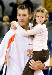 Goran Jagodnik of Hemofarm with his daughter at basketball match in 6th Round of NLB League  between KK Helios Domzale and KK Hemofarm STADA Vrsac , on November 7, 2009, in Dvorana Komunalnega centra, Domzale, Slovenia.  Helios lost 60:85. (Photo by Vid Ponikvar / Sportida)