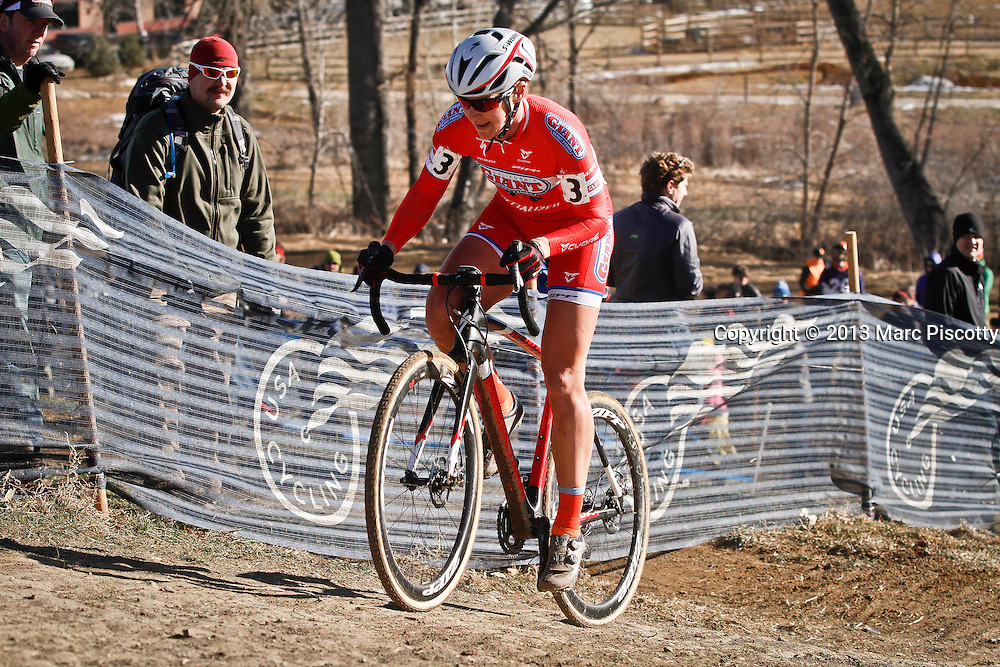 SHOT 1/12/14 3:01:21 PM - Meredith Miller (#3) of Boulder, Co. competes in the Women's Elite race at the 2014 USA Cycling Cyclo-Cross National Championships at Valmont Bike Park in Boulder, Co. Miller finished third in the race with a time of 43:55. (Photo by Marc Piscotty / © 2014)