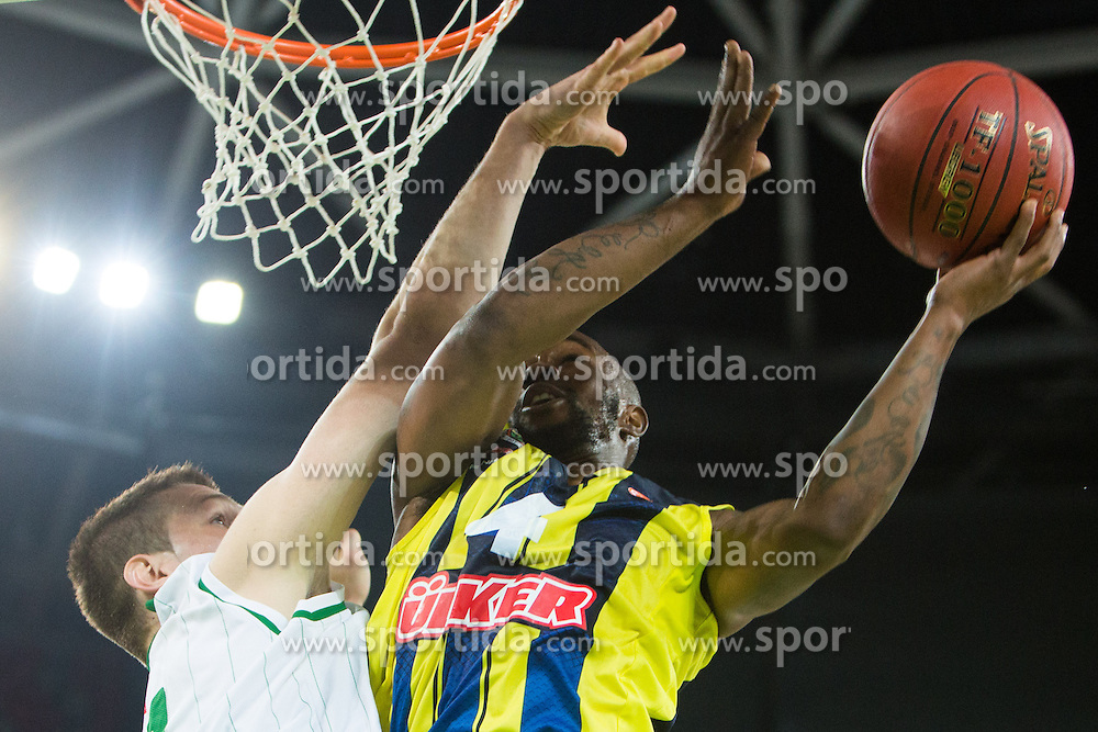 Bo McCalebb of Fenerbahce Ulker scores two point and then hurts his ankle during basketball match between KK Union Olimpija and Fenerbahce Ulker Istanbul (TUR)  in 2nd Round of Regular season of Euroleague 2012/13 on October 19, 2012 in Arena Stozice, Ljubljana, Slovenia. (Photo By Vid Ponikvar / Sportida)