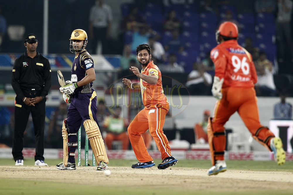 Mustafa Iqbal of the LAHORE LIONS react during match 7 of the Oppo Champions League Twenty20 between the Kolkata Knight Riders and the Lahore Lions held at the Rajiv Gandhi Cricket Stadium, Hyderabad, India on the 21st September 2014<br /> <br /> Photo by:  Deepak Malik / Sportzpics/ CLT20<br /> <br /> <br /> Image use is subject to the terms and conditions as laid out by the BCCI/ CLT20.  The terms and conditions can be downloaded here:<br /> <br /> http://sportzpics.photoshelter.com/gallery/CLT20-Image-Terms-and-Conditions-2014/G0000IfNJn535VPU/C0000QhhKadWcjYs