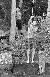 two men at a lake with a dog and rope swing