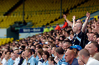 Fotball<br /> Foto: SBI/Digitalsport<br /> NORWAY ONLY<br /> <br /> Leeds United v Millwall<br /> Coca Cola Championship.<br /> 07/08/2005.<br /> <br /> Leeds fans cheer their team on with a backdrop of an empty away stand