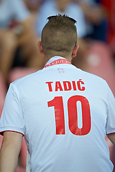BELGRADE, SERBIA - Sunday, June 11, 2017: A Serbia supporter wearing a Dusan Tadic shirt before the 2018 FIFA World Cup Qualifying Group D match between Wales and Serbia at the Red Star Stadium. (Pic by David Rawcliffe/Propaganda)