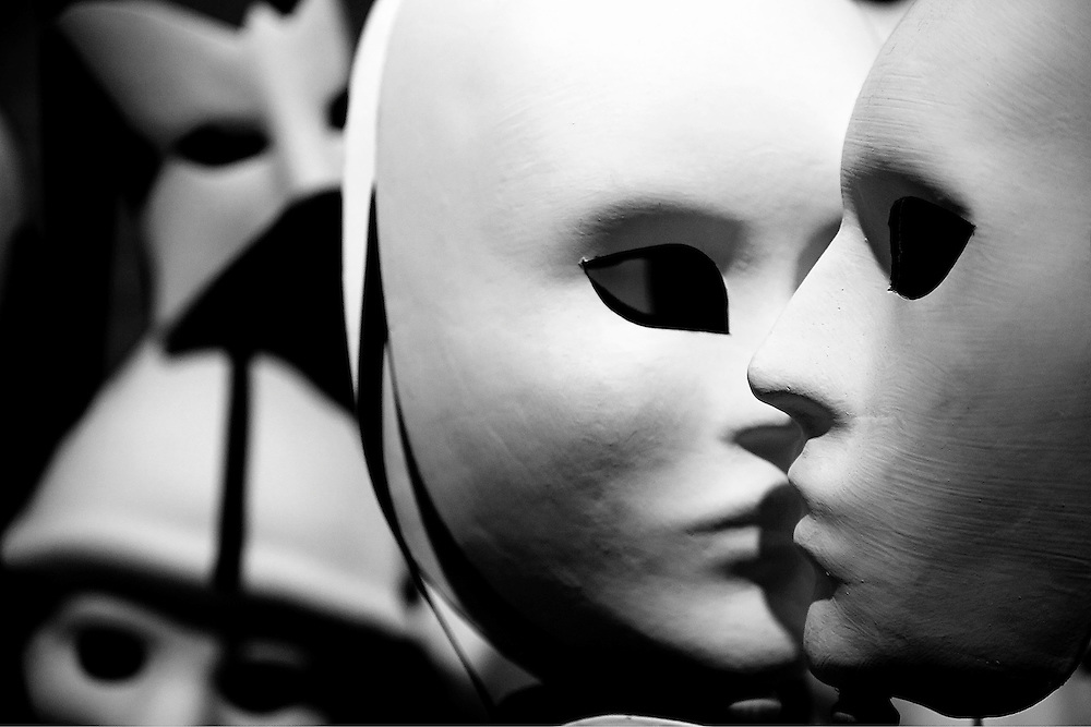 The Kiss<br /> Venetian Masks inside<br />  a shop in Venice, Italy