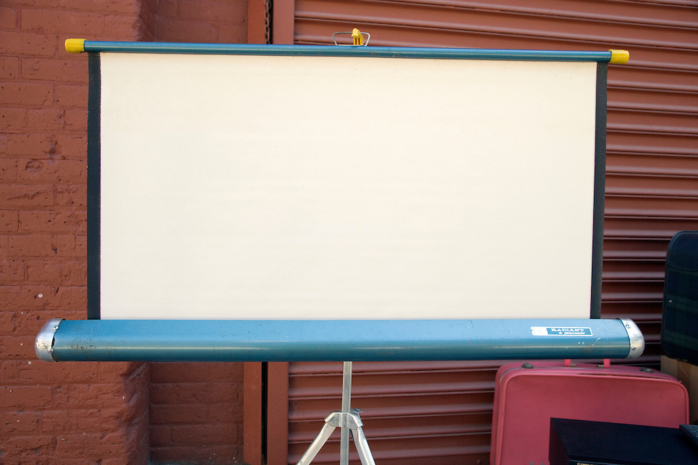 old projection screen at an flee market