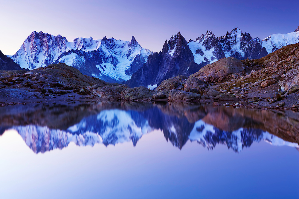 Mountain impression Lac Blanc with Aiguilles de Chamonix - Europe, France, Haute Savoie, Aiguilles Rouges, Chamonix, Lac Blanc - Dawn - September 2008