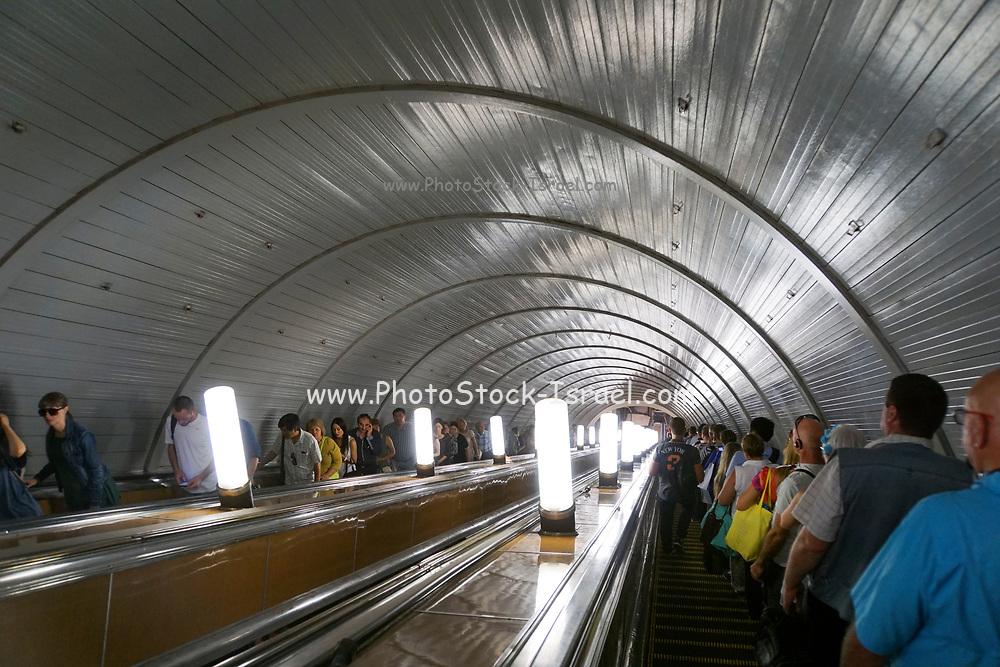 Escalators at Kiyevskaya metro station, Moscow, Russia