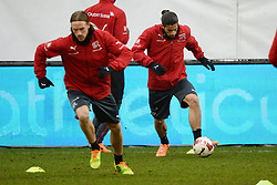 04.03.2014, AFG Arena, St. Gallen, SUI, Training der Schweizer Nationalmannschaft, vor dem Testspiel gegen Kroatien, im Bild Michael Lang (L), Ricardo Rodriguez (SUI) // during a practice session of swiss national football team prior to the international frindley against Croatia at the AFG Arena in St. Gallen, Switzerland on 2014/03/04. EXPA Pictures © 2014, PhotoCredit: EXPA/ Freshfocus/ Andy Mueller<br /> <br /> *****ATTENTION - for AUT, SLO, CRO, SRB, BIH, MAZ only*****