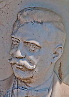 Detail of a Bas relief of a man with mustache on a grave in Isola San Michel in Venice, Italy.