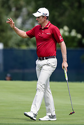 August 9, 2018 - St. Louis, MO, U.S. - ST. LOUIS, MO - AUGUST 09: Justin Rose (ENG) motions to the crowd after sinking his putt on the fourth green during Round 1 of the PGA Championship August 9, 2018, at Bellerive Country Club in St. Louis, MO.  (Photo by Tim Spyers/Icon Sportswire) (Credit Image: © Tim Spyers/Icon SMI via ZUMA Press)