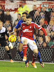 Forests JAMIE MACKIE, attacks Leicesters Goalmouth, Nottingham Forest v Leicester City, City Ground Nottingham,  Sky Bet Championship, 19th Febuary 2014