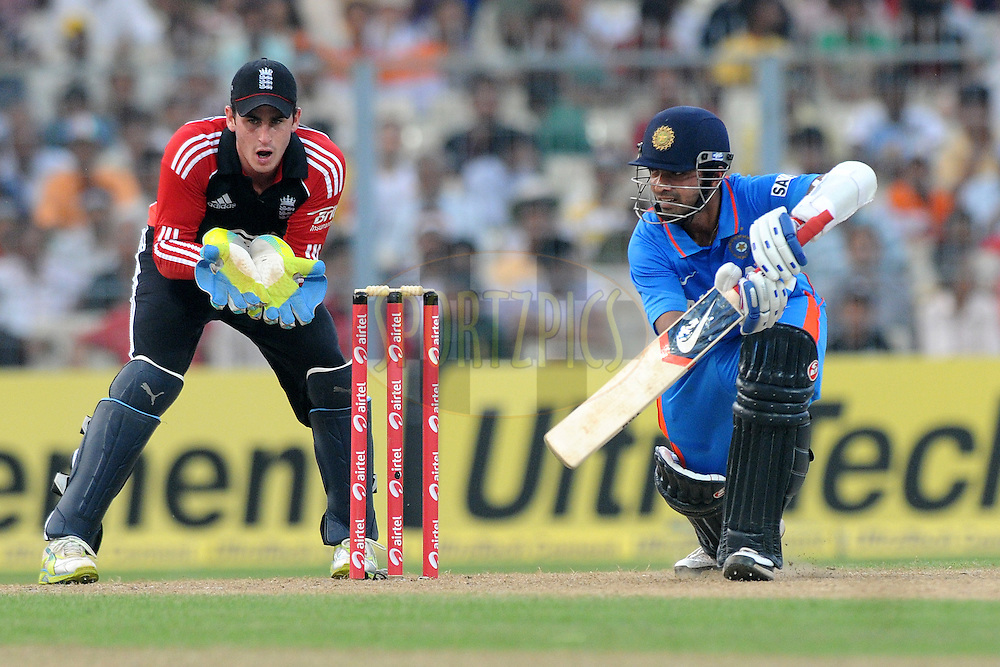 Ajinkya Rahane of India bat during the 5th One Day International ( ODI ) match between India and England held at the Eden Gardens Stadium, Kolkata on the 23rd October 2011..Photo by Pal Pillai/BCCI/SPORTZPICS..