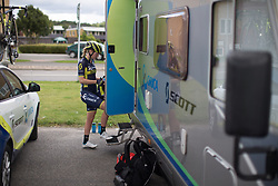 Gracie Elvin (AUS) of Orica Scott Cycling Team climbs onto the team bus after finishing the Crescent Vargarda - a 152 km road race, starting and finishing in Vargarda on August 13, 2017, in Vastra Gotaland, Sweden. (Photo by Balint Hamvas/Velofocus.com)