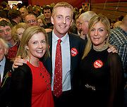 Young newly elected Labour TD Derek Nolan, and his sisters Paula and Lorna, who won the 2nd seat replacing Michael D Higgins as Labour TD in Galway West . Photo:Andrew Downes
