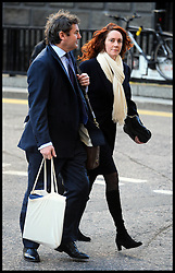 Former Editor of the News of the World Rebekah Brooks with her husband Charlie, arrives to continue giving evidence in the Phone hacking trial at The Old Bailey, London, United Kingdom. Wednesday, 26th February 2014. Picture by Andrew Parsons / i-Images