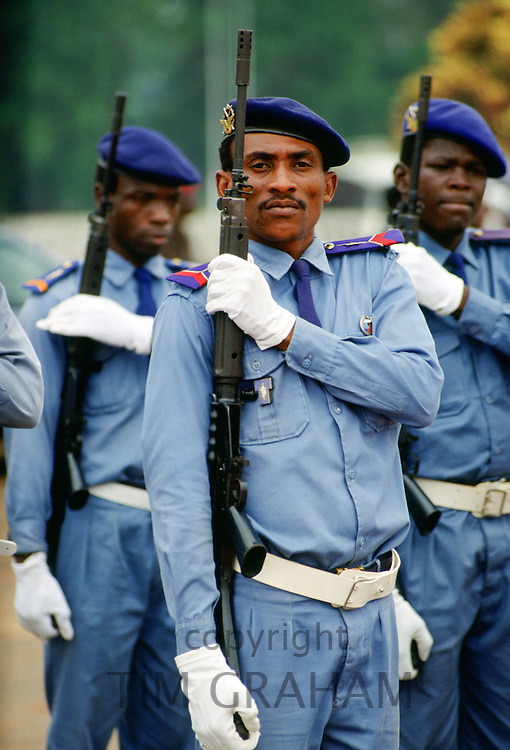 Soldiers with rifles in Cameroon, West Africa