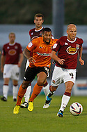 Picture by David Horn/Focus Images Ltd +44 7545 970036.30/08/2012.Man of the Match, Luke Guttridge of Northampton Town (right) during the Capital One Cup match at Sixfields Stadium, Northampton.