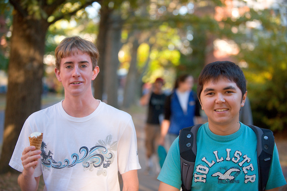 19089Campus fall..left to right..Tyler Scagel  and Akmal Ibragimov
