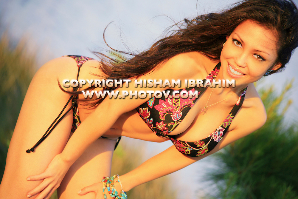 Sexy young Asian woman in bikini, Washington DC, USA