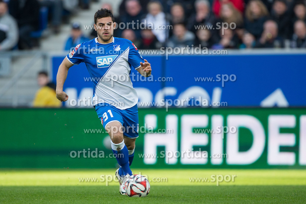 28.02.2015, Rhein Neckar Arena, Sinsheim, GER, 1. FBL, TSG 1899 Hoffenheim vs 1. FSV Mainz 05, 23. Runde, im Bild Kevin Volland (TSG 1899 Hoffenheim), Freisteller, Aktion /Action // during the German Bundesliga 23rd round match between TSG 1899 Hoffenheim and 1. FSV Mainz 05 at the Rhein Neckar Arena in Sinsheim, Germany on 2015/02/28. EXPA Pictures &copy; 2015, PhotoCredit: EXPA/ Eibner-Pressefoto/ Neis<br /> <br /> *****ATTENTION - OUT of GER*****