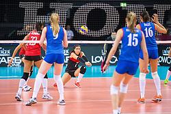 16.07.2015, Porsche-Arena, Stuttgart, GER, FIVB World Grand Prix, Tuerkei vs Serbien, Damen, im Bild Annahme Seniye Merve Dalbeler #2 (Tuerkei/Turkey) // during the women's FIVB 2015 World Grand Prix match between Turkey and Serbia at the Porsche-Arena in Stuttgart, Germany on 2015/07/16. EXPA Pictures © 2015, PhotoCredit: EXPA/ Eibner-Pressefoto/ Wuechner<br /> <br /> *****ATTENTION - OUT of GER*****