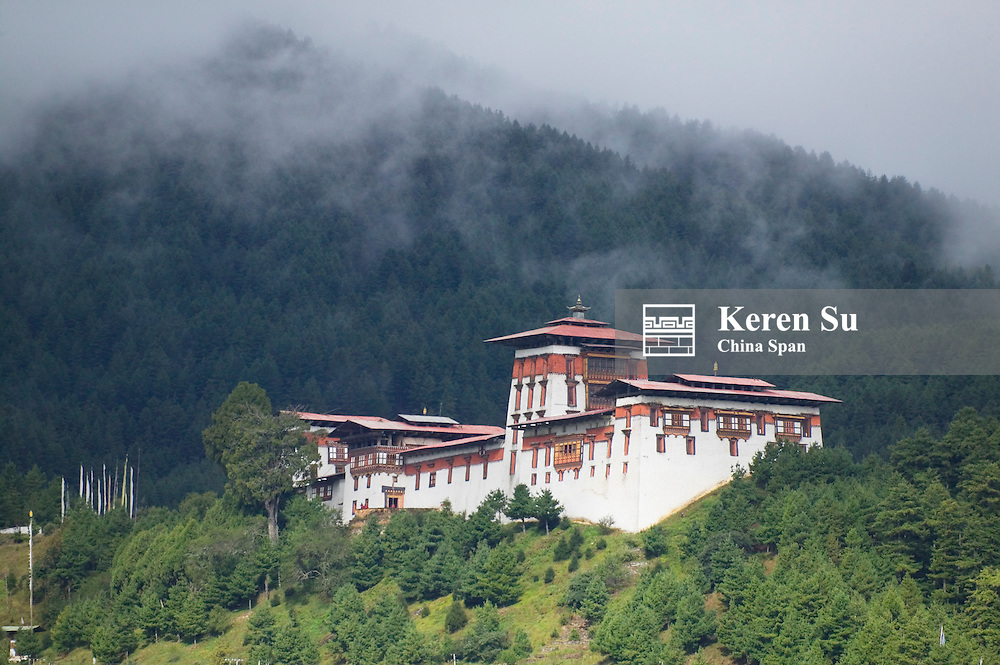 Jakar Dzong in the mountain, Bumthang, Bhutan