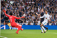 Real Madrid Keylor Navas and Raphael Varane and Tottenham Harry Kane during UEFA Champions League match between Real Madrid and Tottenham at Santiago Bernabeu in Madrid, Spain October 17, 2017. (ALTERPHOTOS/Borja B.Hojas)