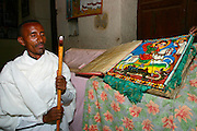 AXUM, TIGRAY/ETHIOPIA..Beggar, guard with AK-47 at the New Church of St. Mary of Zion..(Photo by Heimo Aga)