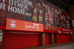 "LIVERPOOL, ENGLAND - Monday, June 29, 2020: A message for supporters to ""Stay safe support us at home"" is seen displayed on an electronic bill board at Liverpool FC's Anfield Stadium after the team won the FA Premier League, their 19th top-flight Championship and the club's first title in 30 years. (Pic by David Rawcliffe/Propaganda)"