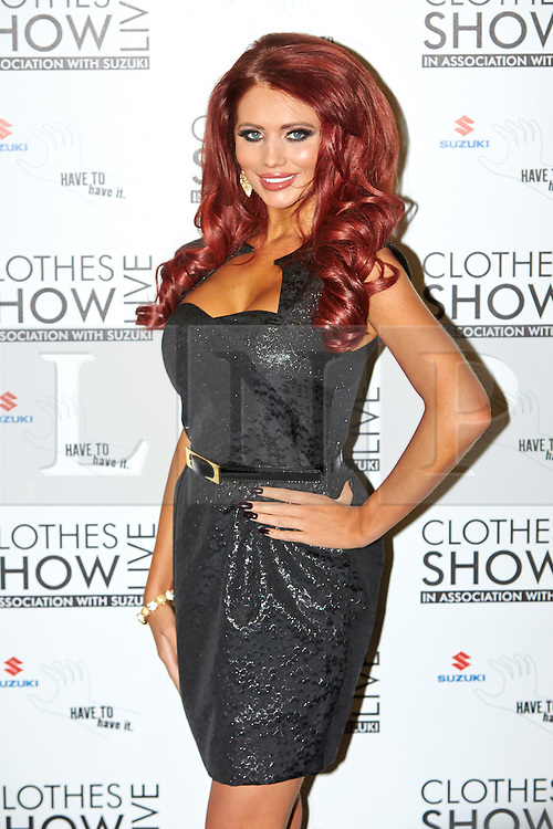 © Licensed to London News Pictures.  07/12/2012. BIRMINGHAM, UK. Reality TV star Amy Childs (pictured) is seen during the opening photo call for the Clothes Show Live event being held in the NEC, Birmingham. The show opens today and runs until Tuesday. Photo credit :  Cliff Hide/LNP