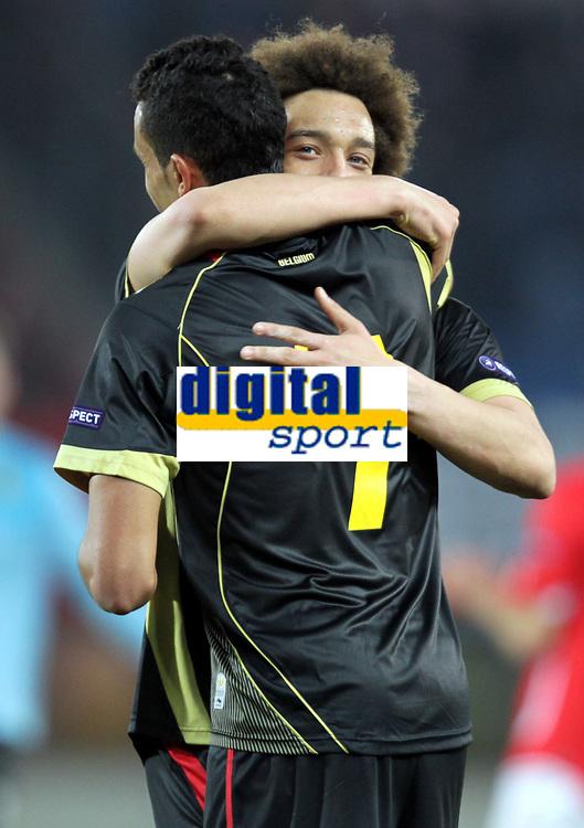 Fotball<br /> EM-kvalifisering<br /> Østerrike v Belgia<br /> 25.03.2011<br /> Foto: Gepa/Digitalsport<br /> NORWAY ONLY<br /> <br /> Bild zeigt den Jubel von Axel Witsel und Nacer Chadli (BEL).