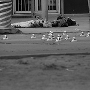 "Two men executed with assault rifles at a taco stand by assassins hired by drug cartels, during what is known as a ""heating up of the plaza"" in Ciudad Juarez, Mexico..(Credit Image: © Louie Palu/ZUMA Press)"