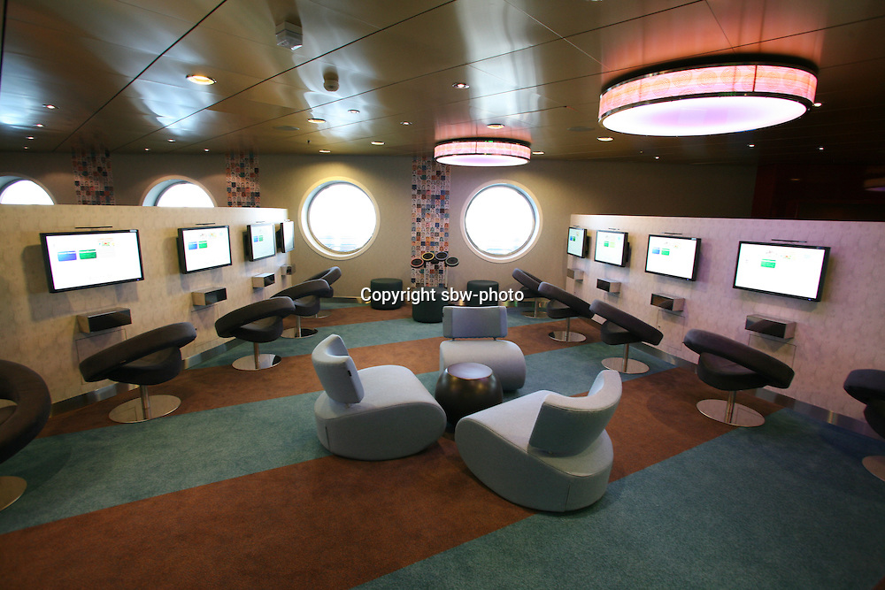 The launch of Royal Caribbean International's Oasis of the Seas, the worlds largest cruise ship..The Living room, teen hangout area.