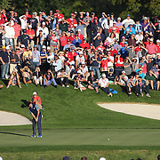 Ryder Cup 2016. Day One. Rory McIlroy of Europe  sinking the decisive putt on the sixteenth hole to put Europe back in contention in the Friday afternoon four-ball competition during the Ryder Cup at  Hazeltine National Golf Club on September 30, 2016 in Chaska, Minnesota.  (Photo by Tim Clayton/Corbis via Getty Images)