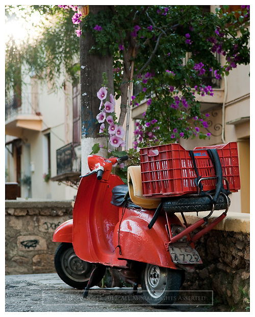 An old scooter parked in Chania, Crete, Greece,