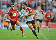 Robbie Fruean makes a break in midfield for the Crusaders ~ Super 15 rugby (Round 15) - Reds v Crusaders played at Suncorp Stadium, Brisbane, Australia on Sunday 29th May 2011 ~ Photo : Steven Hight (AURA Images) / Photosport