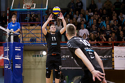 Tine Kvas of Calcit Volley during 3rd Leg volleyball match between OK Calcit Volley and Salonit Anhovo in Semifinal of 1. DOL Slovenian National Championship 2017/18, on April 15, 2018 in Sports hall Kamnik, Kamnik, Slovenia. Photo by Urban Urbanc / Sportida