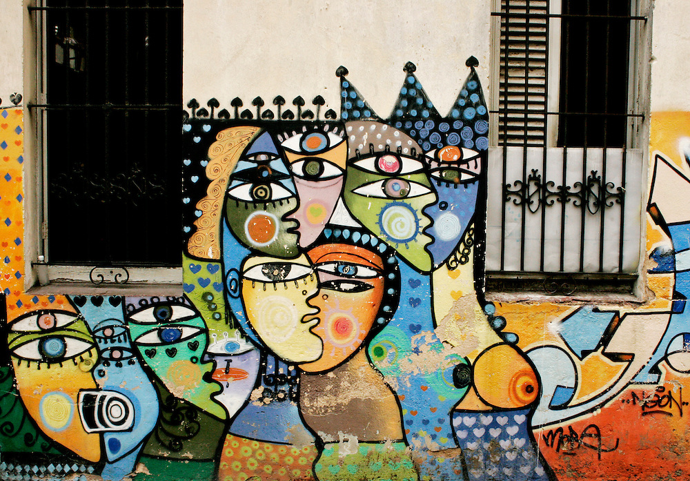 A mural painted on the exterior of a building in Old Havana, Cuba.<br /> There is an abundance of street art in Old Havana, a broad range of creative expression symbolizing a joyous and optimistic picture of a creative and courageous people.