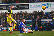 Burton Albion's Jacob Davenport shoots at goal during the EFL Sky Bet Championship match between Ipswich Town and Burton Albion at Portman Road, Ipswich, England on 10 February 2018. Picture by John Potts.