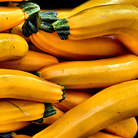 Gold Zucchinis at Farmers Market in Vancouver, Canada