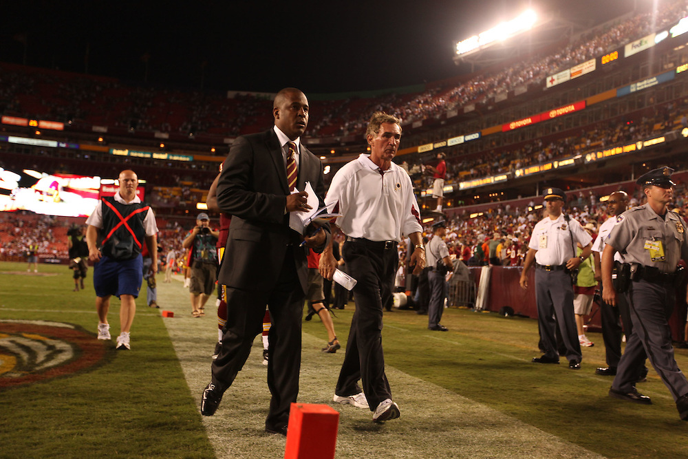 Landover, Md., Sept. 19, 2010 - Washington Redskins vs. Houston Texans - Coach Shanahan walks off the field after the game.