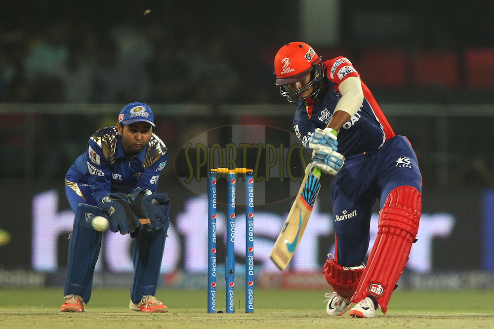 Shreyas Iyer of the Delhi Daredevils quire drives a delivery during match 21 of the Pepsi IPL 2015 (Indian Premier League) between The Delhi Daredevils and The Mumbai Indians held at the Ferozeshah Kotla stadium in Delhi, India on the 23rd April 2015.<br /> <br /> Photo by:  Shaun Roy / SPORTZPICS / IPL