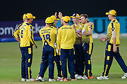 Liam Dawson and Hampshire celebrate during the NatWest T20 Blast South Group match between Hampshire County Cricket Club and Somerset County Cricket Club at the Ageas Bowl, Southampton, United Kingdom on 29 July 2016. Photo by David Vokes.