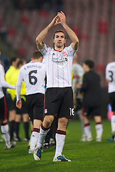 BUCHAREST, ROMANIA - Thursday, December 2, 2010: Liverpool's Sotirios Kyrgiakos applauds the travelling supporters after his side's 1-1 draw with FC Steaua Bucuresti during the UEFA Europa League Group K match at the Stadionul Steaua. (Pic by: David Rawcliffe/Propaganda)