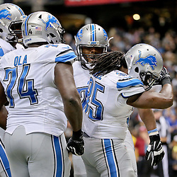 Dec 21, 2015; New Orleans, LA, USA; Detroit Lions running back Joique Bell (35) dabs after a touchdown against the New Orleans Saints during the second half of a game at the Mercedes-Benz Superdome. The Lions defeated the Saints 35-27. Mandatory Credit: Derick E. Hingle-USA TODAY Sports