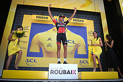 July 15, 2018 - Amiens Metropole, FRANCE - Belgian Greg Van Avermaet of BMC Racing celebrates on the podium in the yellow jersey of leader in the overall ranking after the eighth stage of the 105th edition of the Tour de France cycling race, from Arras Citadelle to Roubaix (156,5 km), in France, Sunday 15 July 2018. This year's Tour de France takes place from July 7th to July 29th. BELGA PHOTO DAVID STOCKMAN (Credit Image: © David Stockman/Belga via ZUMA Press)