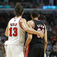 16 March 2012: Chicago Bulls center Joakim Noah (13) defends on Portland Trail Blazers small forward Nicolas Batum (88) during the Portland Trail Blazers 100-89 victory over the Chicago Bulls at the United Center, Chicago, Illinois, USA.