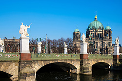 View ol Schlossbrucke designed by Schinkel at Lustgarten on Museum Island (Museumsinsel) in Mitte, Berlin, Germany