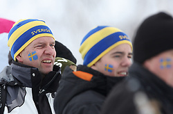 Fans of Sweden at Ladies` Pursuit 7,5 km Classic + 7,5 km Free at FIS Nordic World Ski Championships Liberec 2008, on February 21, 2009, in Vestec, Liberec, Czech Republic. (Photo by Vid Ponikvar / Sportida)