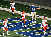 11-24-17 - Powder Springs, GA - McEachern players celebrate in the end zone after a touchdown during a 7A quarterfinal high school football game between the McEachern Indians and the Parkview Panthers at McEachern High School in Powder Springs, Georgia, on Friday, Nov. 24, 2017. McEachern beat Parkview 43-28 to advance to the semifinals. (CASEY SYKES, CASEY.SYKES@AJC.COM)